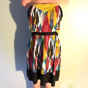 Silence + Noise Colorful Strapless Dress SZ LG